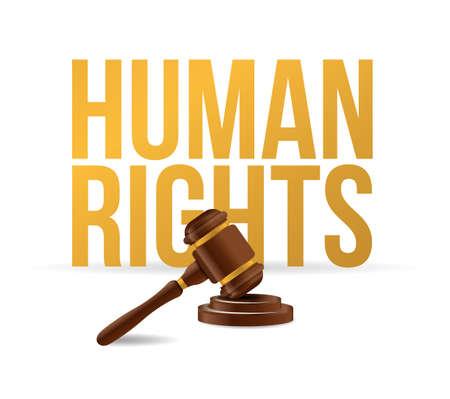 violación: gráfico de diseño de ilustración de martillo de ley de derechos humanos sobre blanco