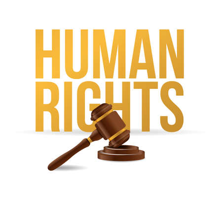 human rights law hammer illustration design graphic over white Illustration