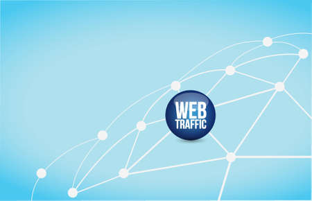 web traffic link network illustration design over a blue background