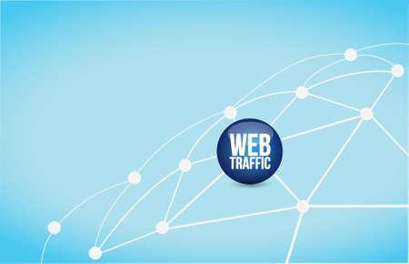 web traffic link network illustration design over a blue background Vector Illustration