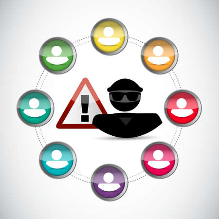 personal identity warning. hacker inside network concept illustration over white