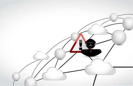 Hacker cloud network concept illustration design graphic over white Illustration