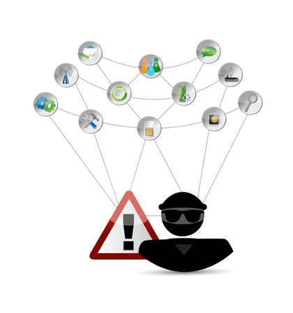 Hacker and link network. security warning concept illustration design Illustration