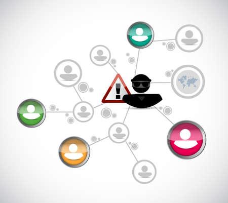 hacker stealing person information network concept illustration design