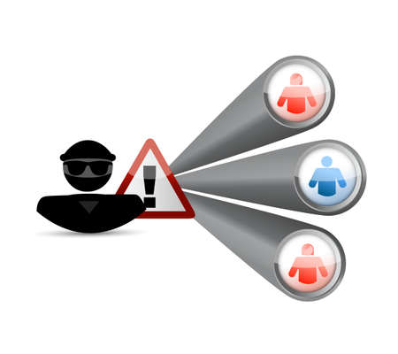 hacker warning and links to people. illustration design isolated over white