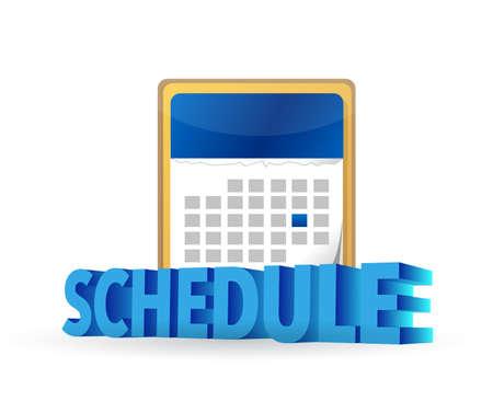 schedule on blue calendar concept illustration design over white