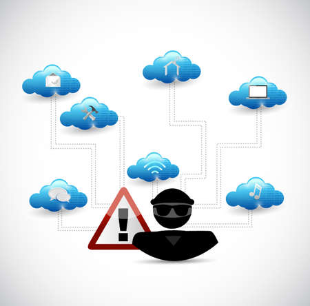 Hacker hitting a link of tools. Security warning concept illustration design