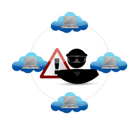 stealing data: security warning. Hacker access to cloud computing. illustration design graphic