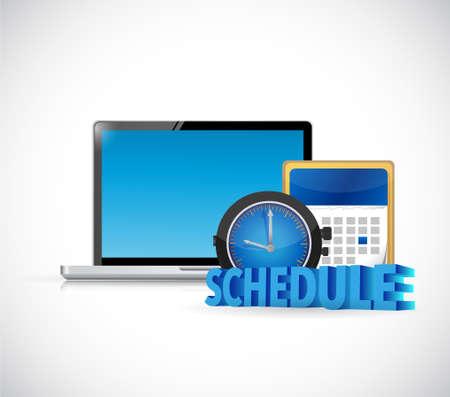 schedule computer and calendar. illustration design over white Ilustração