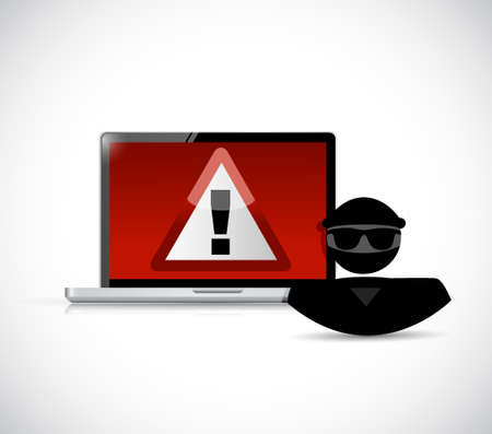 Security warning. Hacker and computers. Illustration design graphic Illustration