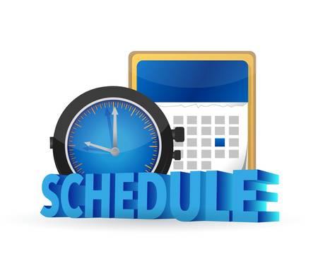 Horario en un concepto de calendario ilustración diseño más de blanco