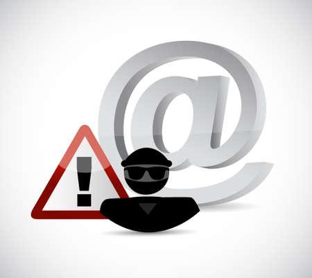 internet hacker warning sign concept illustration design over white Illustration