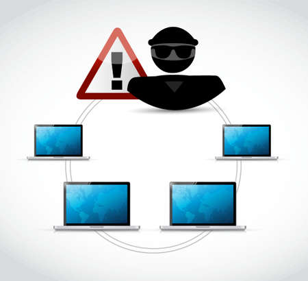 Hacker over a computer network illustration isolated over white Illustration