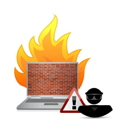 hacker and fire wall security warning illustration design isolated over white Illustration