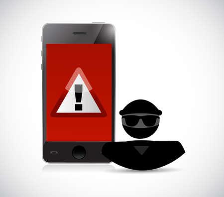 Security warning. Hacker and smart phones. Illustration design graphic Illustration