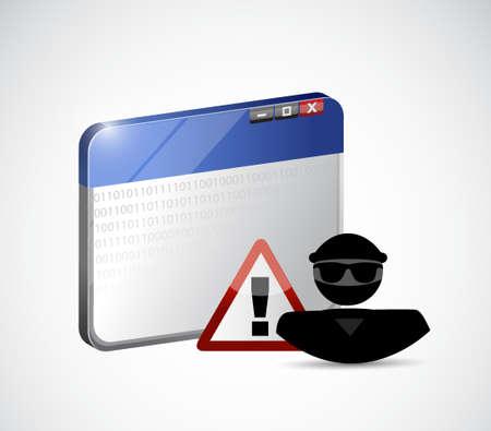 Internet web hacker. Security warning concept illustration.