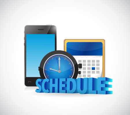 Schedule time and calendar on a smart phone. Illustration design over white