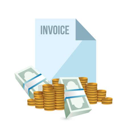 cash money: Invoice and cash money concept illustration design over white