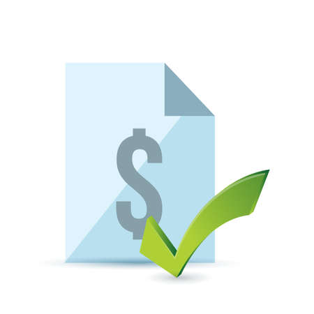 Invoice and green check mark. Illustration design over white Illustration