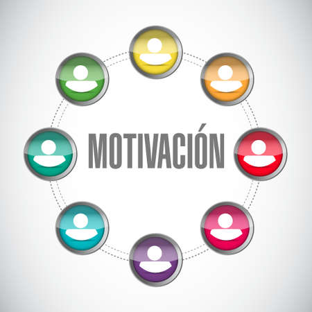 induce: Motivation network avatar cycle sign in Spanish concept illustration design graphic over blue