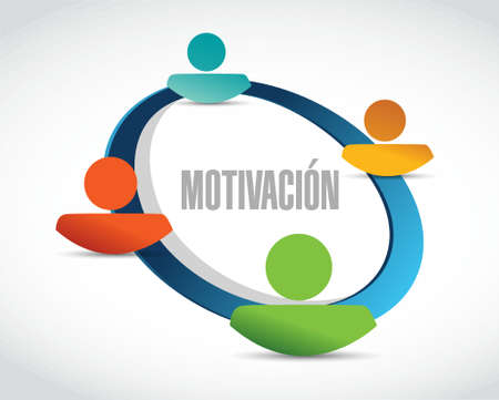 induce: Motivation network sign in Spanish concept illustration design graphic over white
