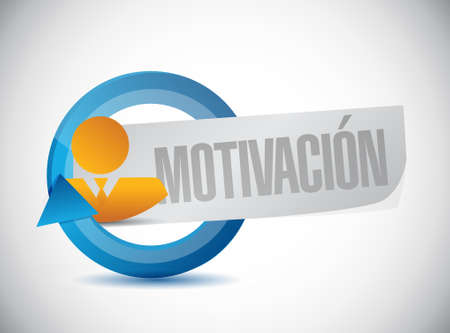 induce: Motivation avatar cycle sign in Spanish concept illustration design graphic over blue