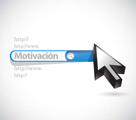 Motivation search bar sign in Spanish concept illustration design graphic over white