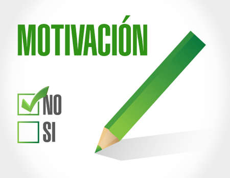 No Motivation industrial gear sign in Spanish concept illustration design graphic over white