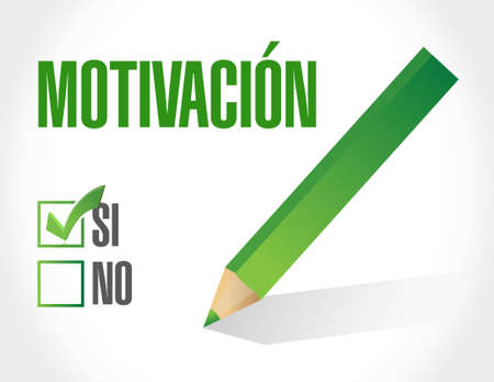 Motivation sign in Spanish concept illustration design graphic over white Illustration
