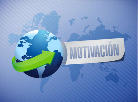Motivation globe sign in Spanish concept illustration design graphic over white 矢量图像