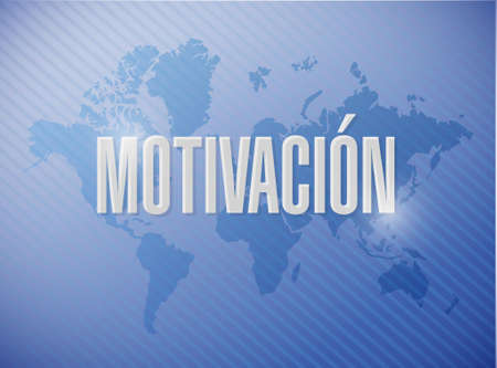 Motivation sign in Spanish concept illustration design graphic over a world map Stock Illustratie
