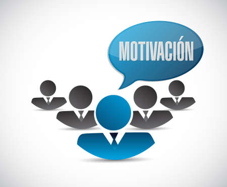 induce: Motivation team sign in Spanish concept illustration design graphic over blue Illustration