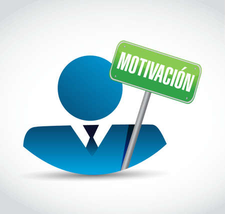 Motivation business avatar sign in Spanish concept illustration design graphic over white