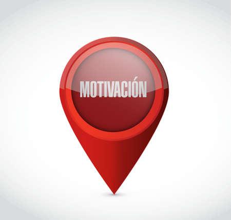Motivation locator sign in Spanish concept illustration design graphic over blue