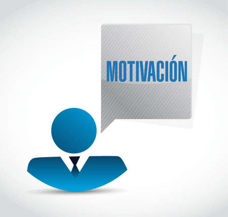 Motivation business avatar sign in Spanish concept illustration design graphic over blue