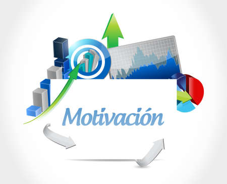 induce: Motivation business chart sign in Spanish concept illustration design graphic over white