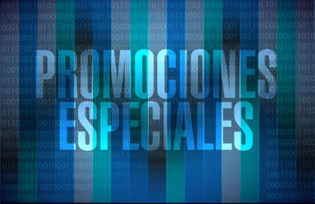 special promotions in Spanish binary sign concept illustration design graphic Ilustrace
