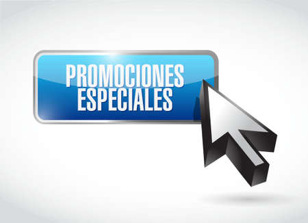 special promotions in Spanish button sign concept illustration design graphic
