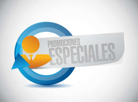 special promotions in Spanish business sign concept illustration design graphic