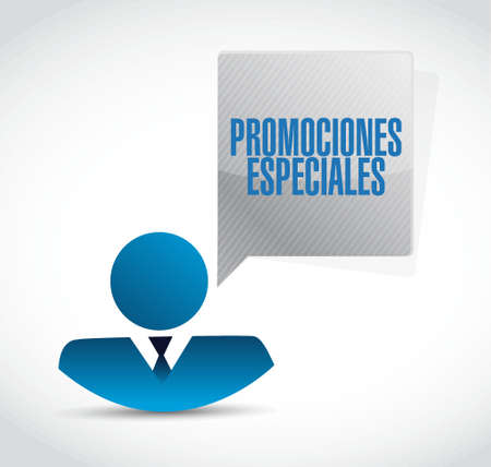 special promotions in Spanish businessman sign concept illustration design graphic