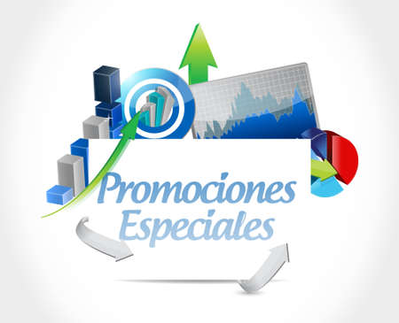 checked: special promotions in Spanish business chart concept illustration design graphic