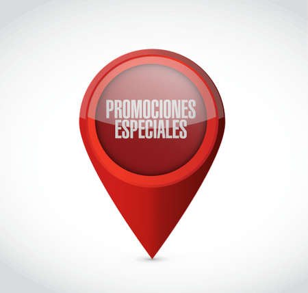 special promotions in Spanish locator sign concept illustration design graphic Ilustrace