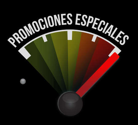 special promotions in Spanish meter sign concept illustration design graphic