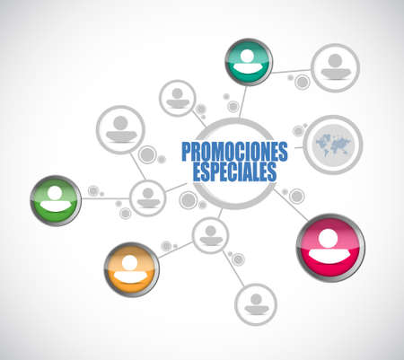 special promotions in Spanish people diagram sign concept illustration design graphic