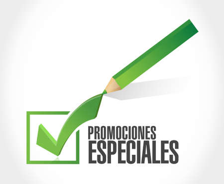 special promotions in Spanish check mark sign concept illustration design graphic