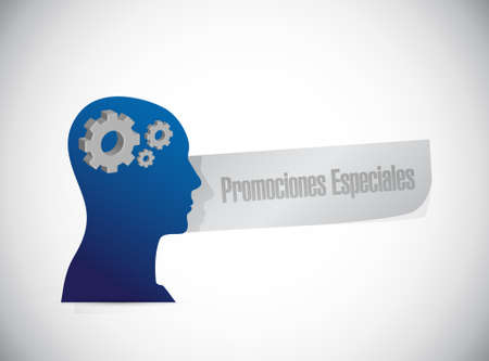 special promotions in Spanish thinking brain sign concept illustration design graphic