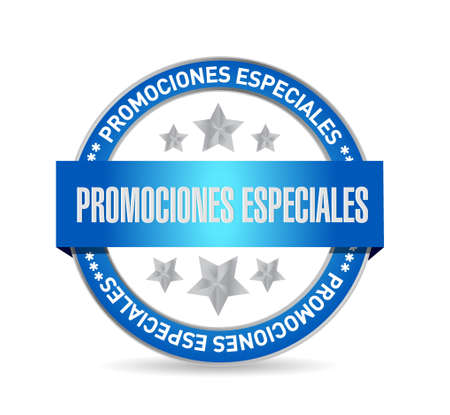 special promotions in Spanish seal sign concept illustration design graphic