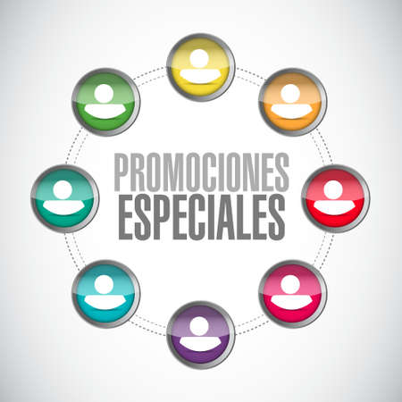 special promotions in Spanish network sign concept illustration design graphic Illustration