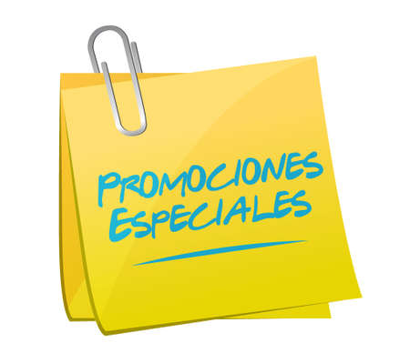 special promotions in Spanish memo sign concept illustration design graphic Ilustrace