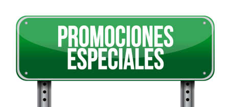 special promotions in Spanish road sign concept illustration design graphic